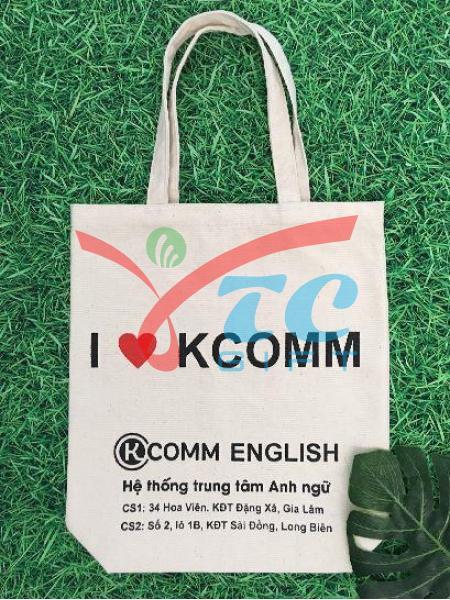 TÚI VẢI BỐ MÀU TRẮNG KEM KCOMM ENGLISH