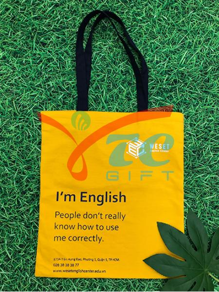 TÚI CANVAS MÀU VÀNG WESET ENGLISH CENTER