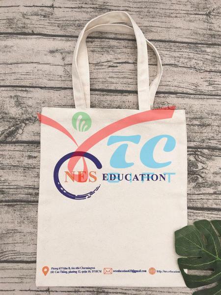 TÚI TOTE MÀU TRẮNG KEM NES EDUCATION